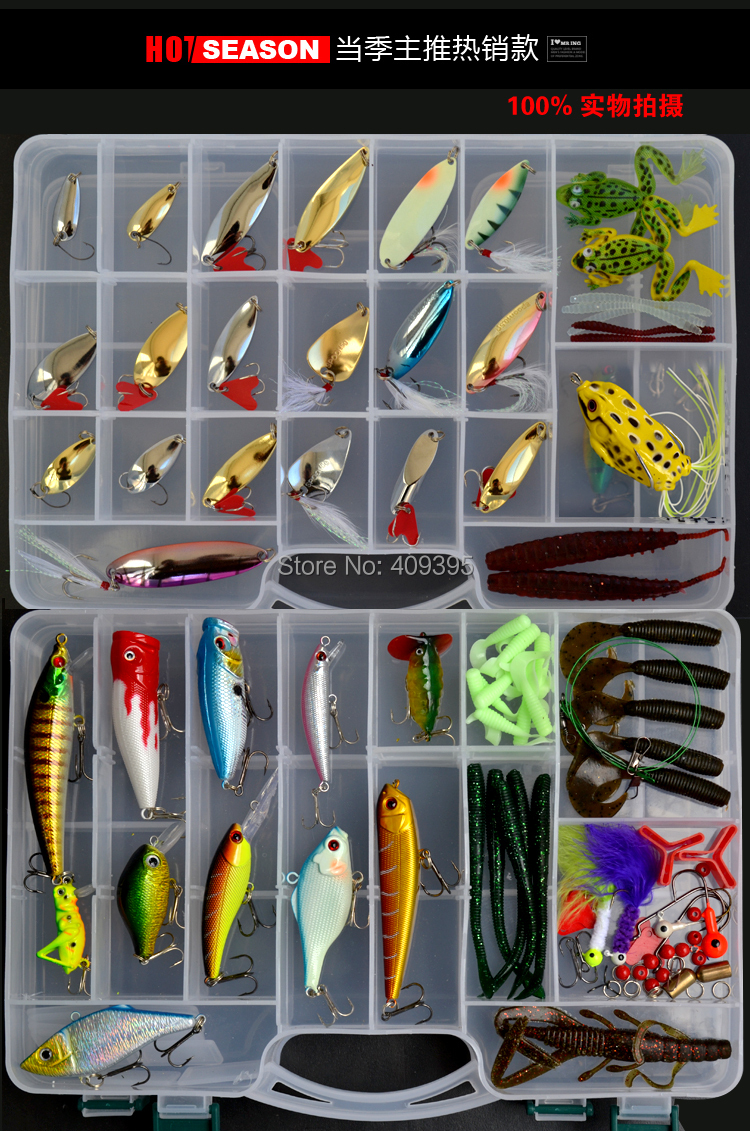 1 set 119pcs metal fishing lure and soft bait and Hard lure +1pc fishing tackle box Free shipping 30pcs set fishing lure kit hard spoon metal frog minnow jig head fishing artificial baits tackle accessories