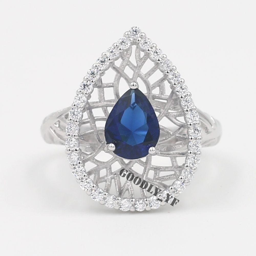 Rings Heart Blue Sapphire Simulated Diamond Platinum Plated White Gold Engagement  Wedding Rings For Women's Jewelry