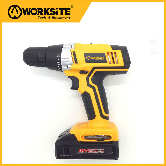 Worksitetools CD314-18Li 2 Speed Best Cordless 18V Drill Torque Wireless Drill Lithium Battery Impact Power Tools Electric Drill