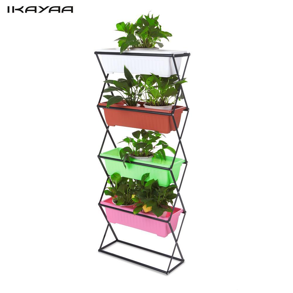 Ikayaa 3 4 Tier Metal Folding Garden Planter Plant Stand