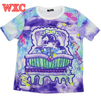 Harajuku Tie Dye Women T Shirt Anime My Little Pony Cute Pattern Tops Kawaii Short Sleeve