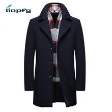 2017 Men's new woolen coat Middle-aged men's long woolen  coat Business casual Large-size brand clothing Black Men's coat MK570