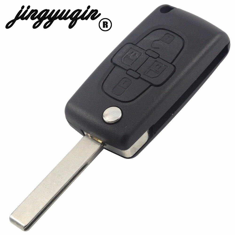 jingyuqin Uncut Blade 4 Button Flip Folding Remote Fob Key Shell Case For Citroen C8 For Peugeot 1007 Replacement Cover Blankjingyuqin Uncut Blade 4 Button Flip Folding Remote Fob Key Shell Case For Citroen C8 For Peugeot 1007 Replacement Cover Blank