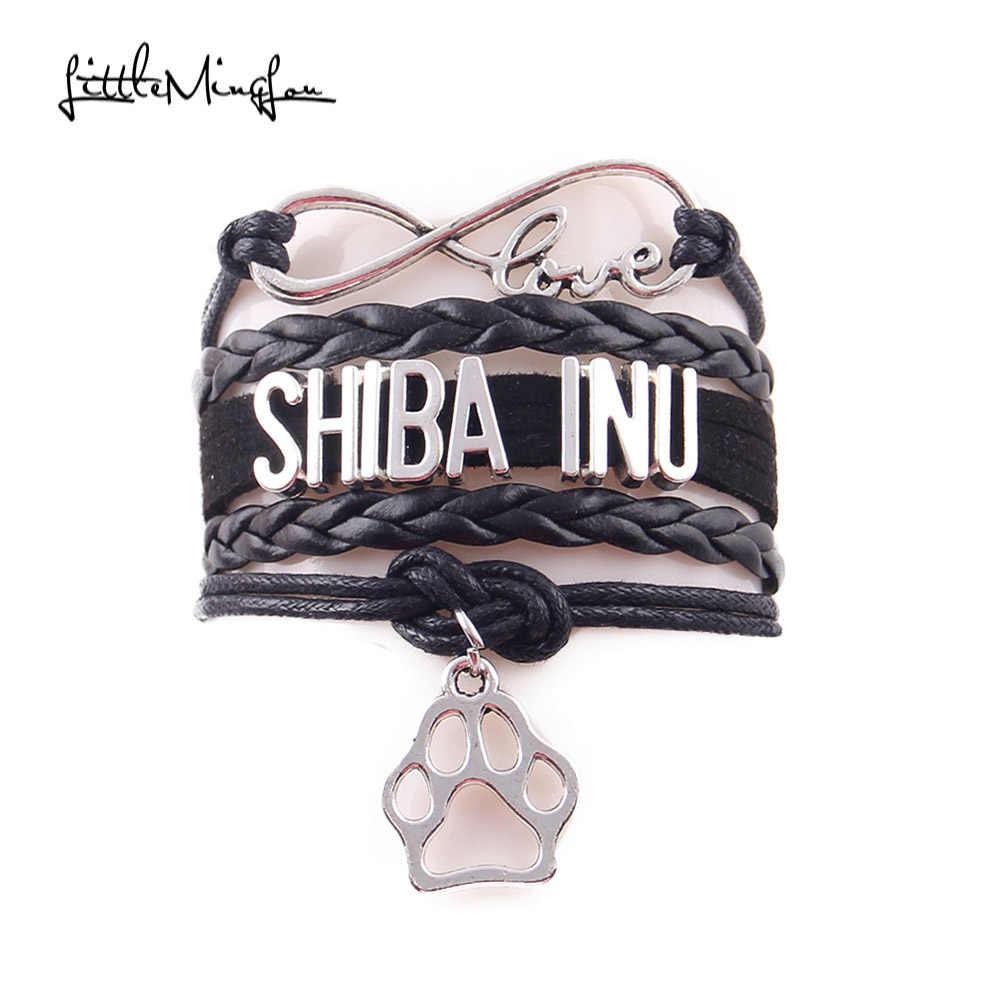 Little MIngLou Infinity love shiba inu bracelet dog pet paw charm leather wrap men bracelets & bangles for women jewelry