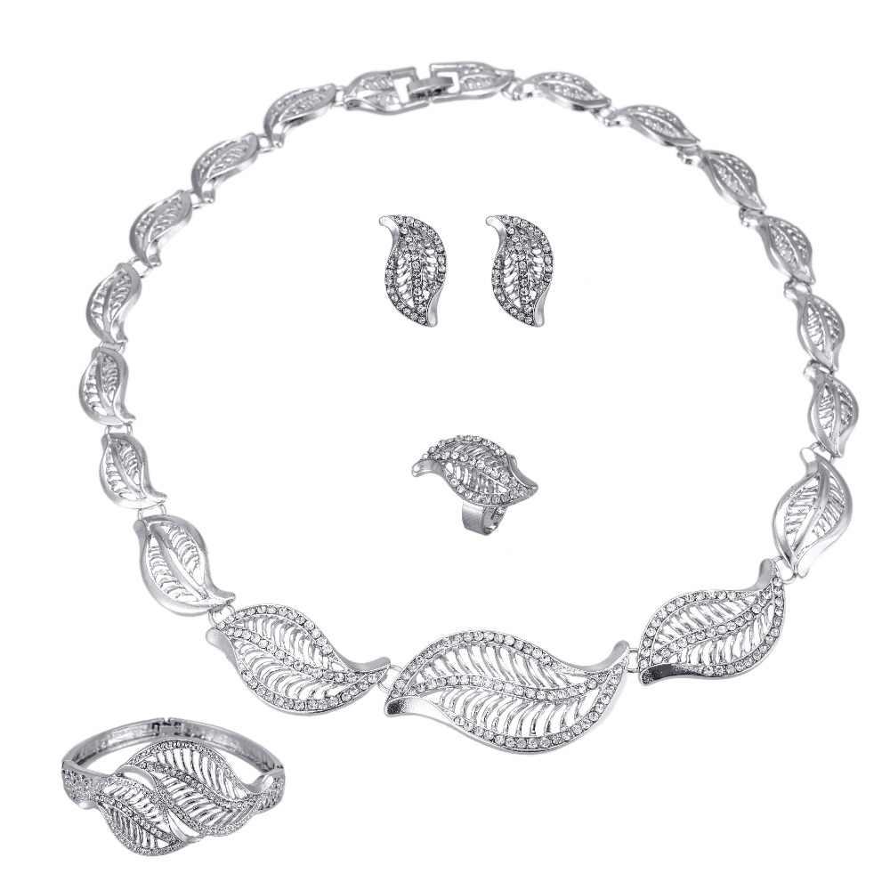 2017 Chất Lượng Tốt bạc leaf shape Phi/Eritrea/Ethiopia/Arabic/Oman Habesha Cưới Tham Gia Quà Tặng Dubai bộ đồ trang sức
