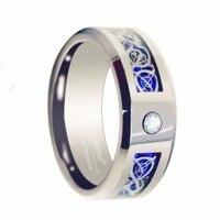 Queenwish 6มิลลิเมตรทังสเตนแหวนCubic Z Irconia Inlayด้วย