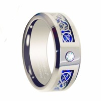 Queenwish 6mm Tungsten Ring Cubic Zirconia Inlay with Silver Dragon Celtic Style Engagement Rings for Couples Wedding Bands