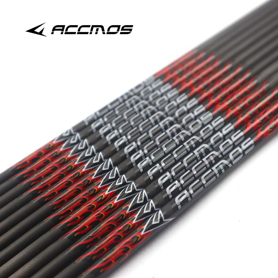 6/12pc 31 Inch ID 6.2mm Spine 200 300 340 400 500 600 700 800 Pure Carbon Arrow Shafts + Nocks DIY Arrow Archery For Bow Hunting