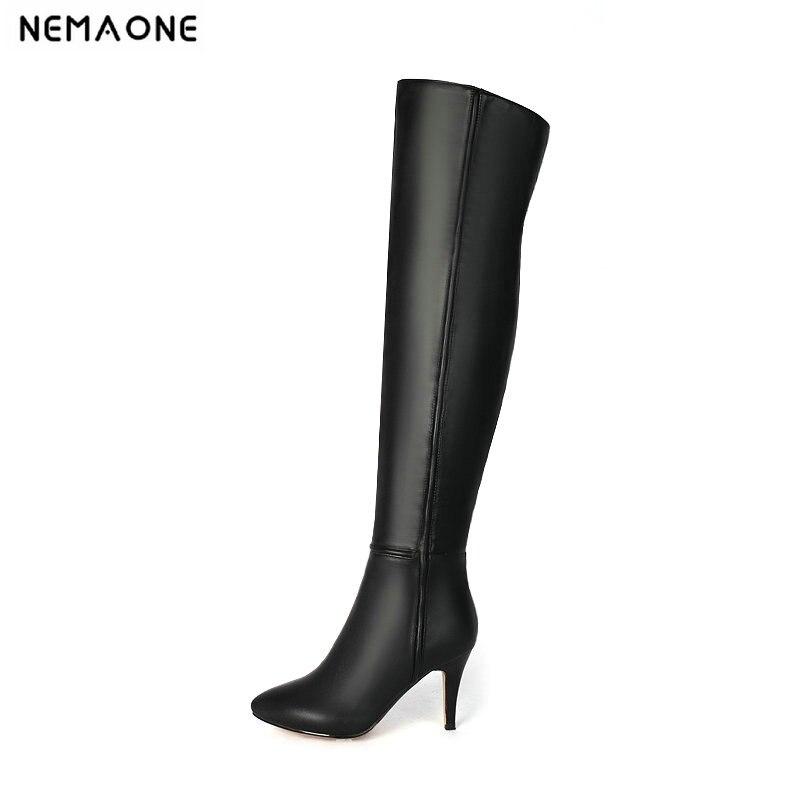 8a48e63ebb5b Taille Noir Haute Genou Dames Sexy Hauts Hiver Talons Chaussures Le Nemaone  Sur Danse Bottes Femmes 43 Parti Grande Automne Femme wYfTHqXYx
