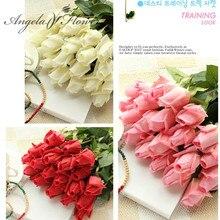 Envío gratis (11 unids/lote) flores rosas artificiales frescas, rosas de tacto Real, decoraciones para el hogar para fiesta de boda o cumpleaños