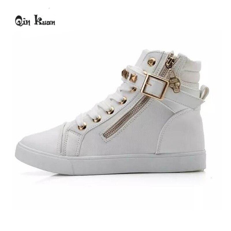 ce65713642f20 Qin Kuan Mixed Color Platform Flat Heel Shoes Women Fashion Round Toe Lace  Up Zip Rivets