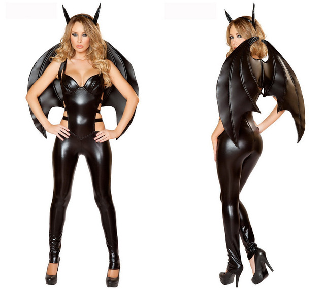 halloween costumes for women bat costume black faux leather one piece bodysuit include bats wing sexy