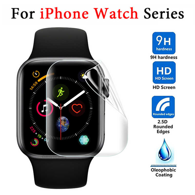 Full Glue Tempered Film On For Apple Watch 42mm 40mm 44mm Soft Screen Protector Film 38 40 42 44 mm 38mm 42mm  (Not Glass)