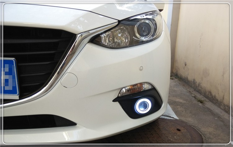eOsuns COB angel eye led daytime running light DRL + Fog Light + Projector Lens for Mazda 3 Axela 2013-2015 for mazda 3 axela 2014 car led drl cob angel eye projector lens halogen fog lamp daytime running lights 2pcs