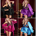 High Quality Ladies Sexy Silk Satin Sleepwear Lace Embroidery Lingerie Night Bath Robe Luxury Charm Pajamas 3 Pcs Free Shipping