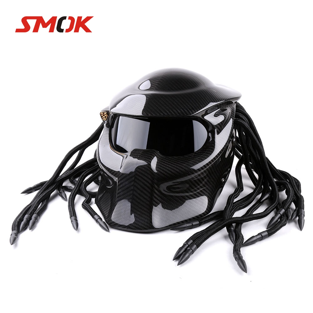 Universal Predator Full Face Mask Carbon Fiber Neca Iron Man Fringed Braids Motorcycle Helmet For KTM