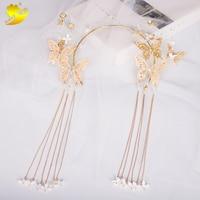 Xinyun Classic Gold Butterfly Decorative Headband Handmade White Flowers Bridal Hair Accessories Fresh Colorful Gold Headband