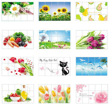 1Pc 75*45 cm Waterproof Aluminum Foil Wall Sticker Tiled Kitchen Bathroom Wall Art Decals Tulip Flower Rose Home Decoration
