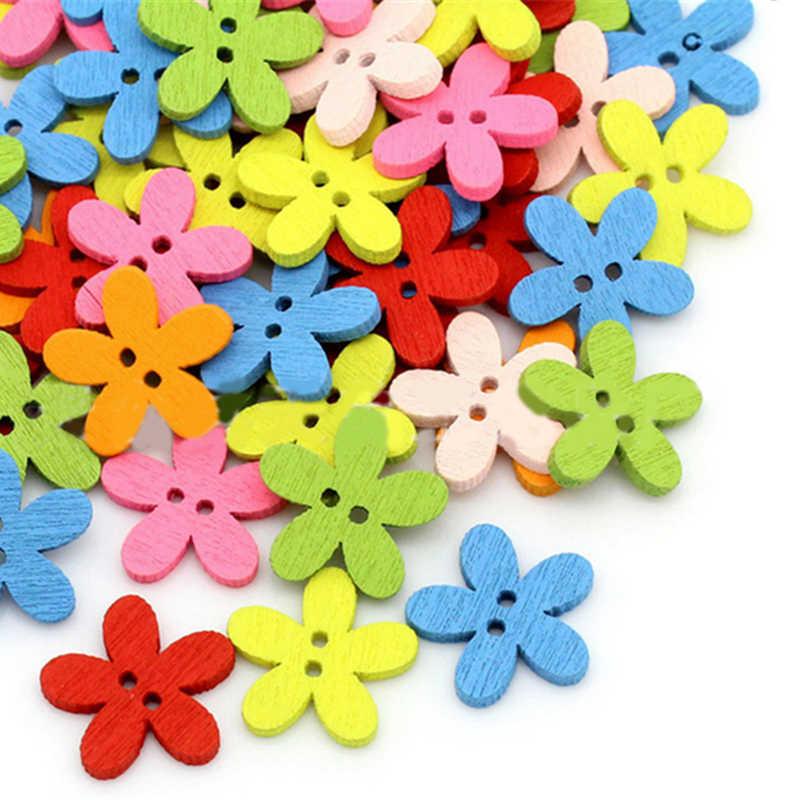 100 adet Renkli 15x15mm 2 Delik Karışık Çiçek Ahşap dekoratif Düğmeler Fit Dikiş Scrapbooking El Sanatları
