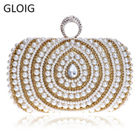GLOIG Beaded Lady Handbags Finger Ring Diamonds Purse Evening Bags Crystal Luxurious Pearl Wedding Bags For Party Dinner