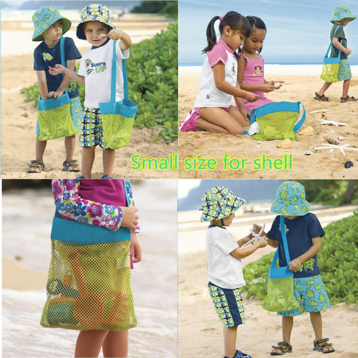 Foldable Portable Beach Bag Kids Toy Bag Children mesh Storage Bags Beach Toy Pouch Baskets Carrying Toys Tote Mesh Storage Bag