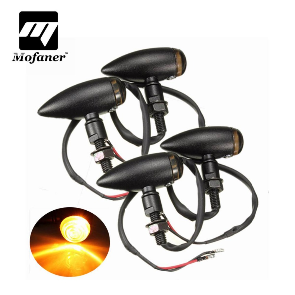 4PCS Motorcycle Bullet Turn Signal Indicator Light Lamp For Harley Chopper/Cruiser Black Chrome