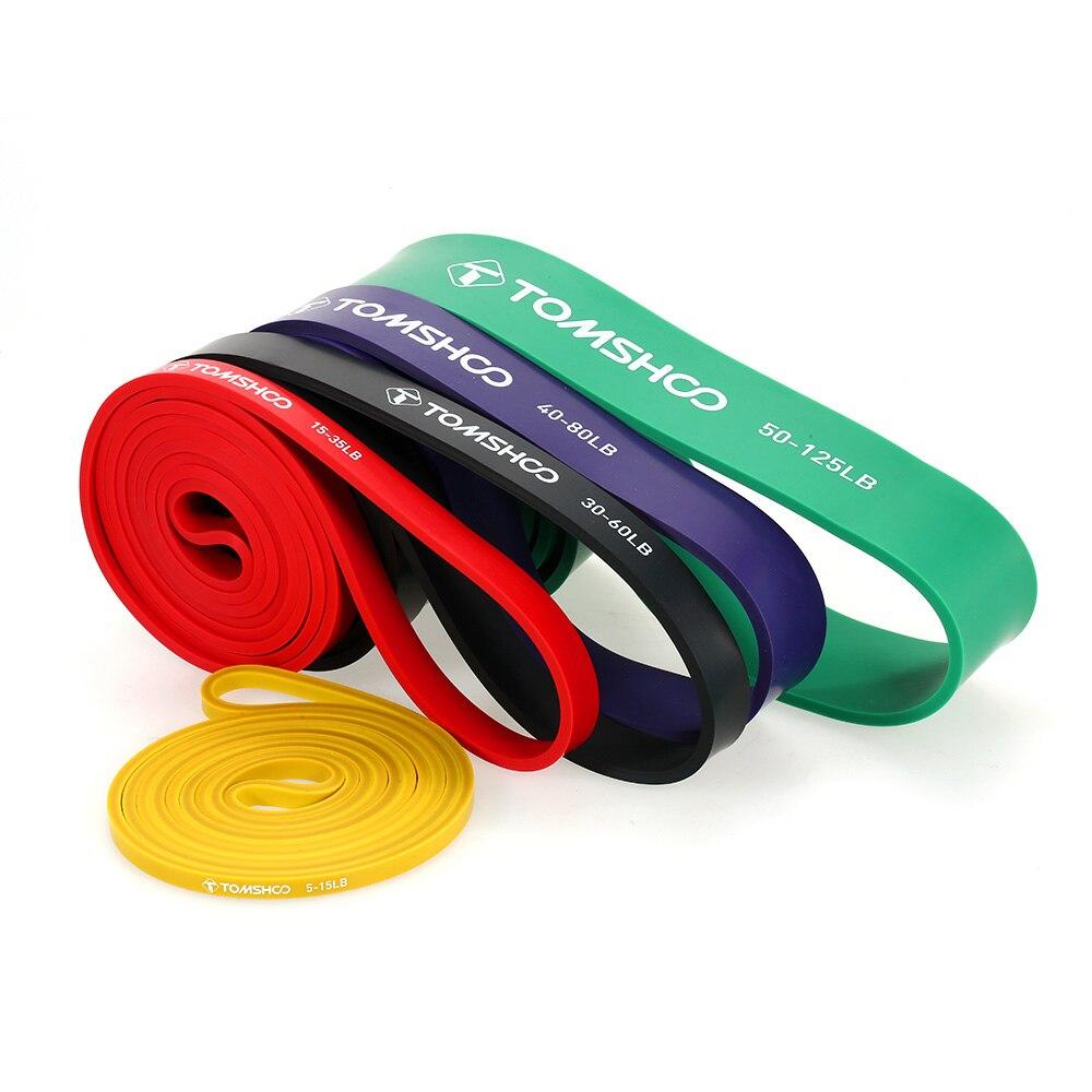 TOMSHOO 5 paquets tirer vers le haut des bandes d'assistance Set résistance suspendus bandes de boucle de Yoga Powerlifting exercice bandes extensibles avec ancre de porte - 6