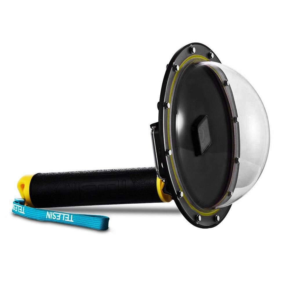 TELESIN Dôme Port Case Boîtier Étanche pour GoPro Hero 5 Hero 6 Hero 7 avec Trigger Grip Dôme Couverture Sphère accessoires