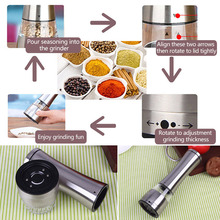 Hot Salty Pepper Mill Salt and Pepper Shaker Stainless Steel Pepper Grinder Manual Seasoning Pot Spice Kitchen Cooking Tools