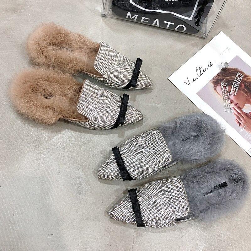 De Luxe Automne Chaussures grey Khaki Femmes Bling Mules Bowtie Pantoufles Cristal Bout Plat Pointu Fourrure Femme Strass ItpF7qwap