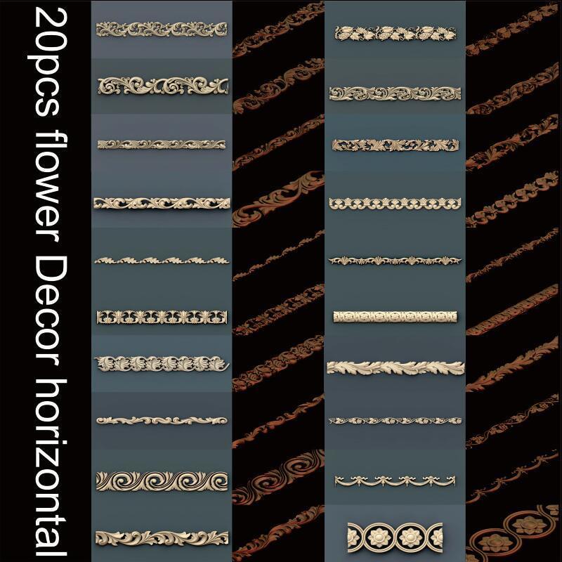 20pcs Flower Decor Horizontal 3d Model STL Relief For Cnc STL Format 3d Model For Cnc Stl Relief Artcam Vectric Aspire