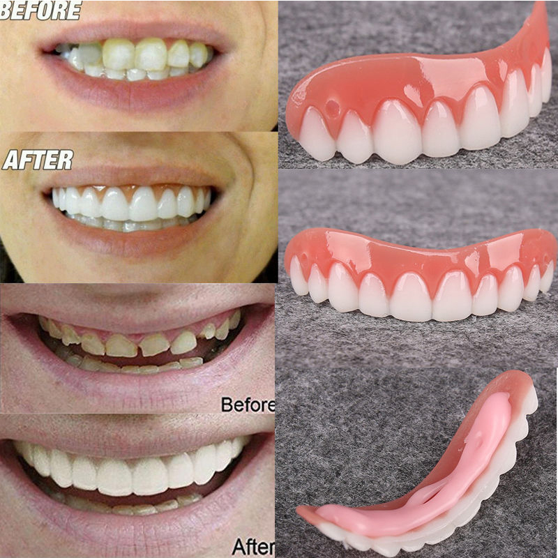 1PCS Fake Teeth Upper False Fake Tooth Cover Snap On Immediate Teeth Cosmetic Denture Care Oral Care Silicone Whitening Denture