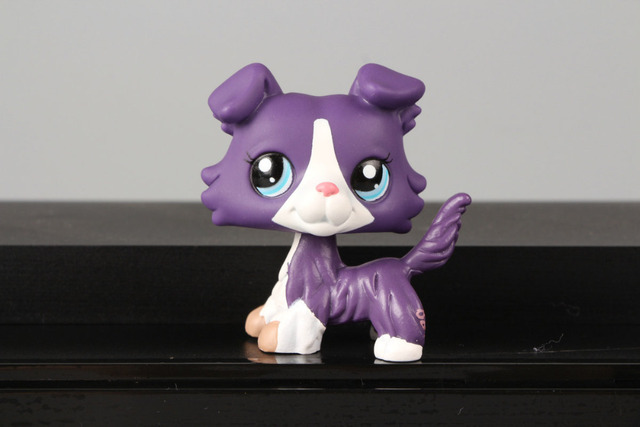 Lovely Pet Collection LPS Figure Toy Collie Dog Puppy #1676 Purple White Pink Blue Nice Gift Kids