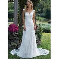 U SWEAR 2019 Elegant Lace Wedding Dress Vintage Mermaid Bridal Dress V Neck Sexy Romantic Floor Length Vestidos de novia