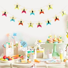 Rainbow Happy Birthday Star Banner Baby Girl Boy Garland for Childrens Party 1st Decor