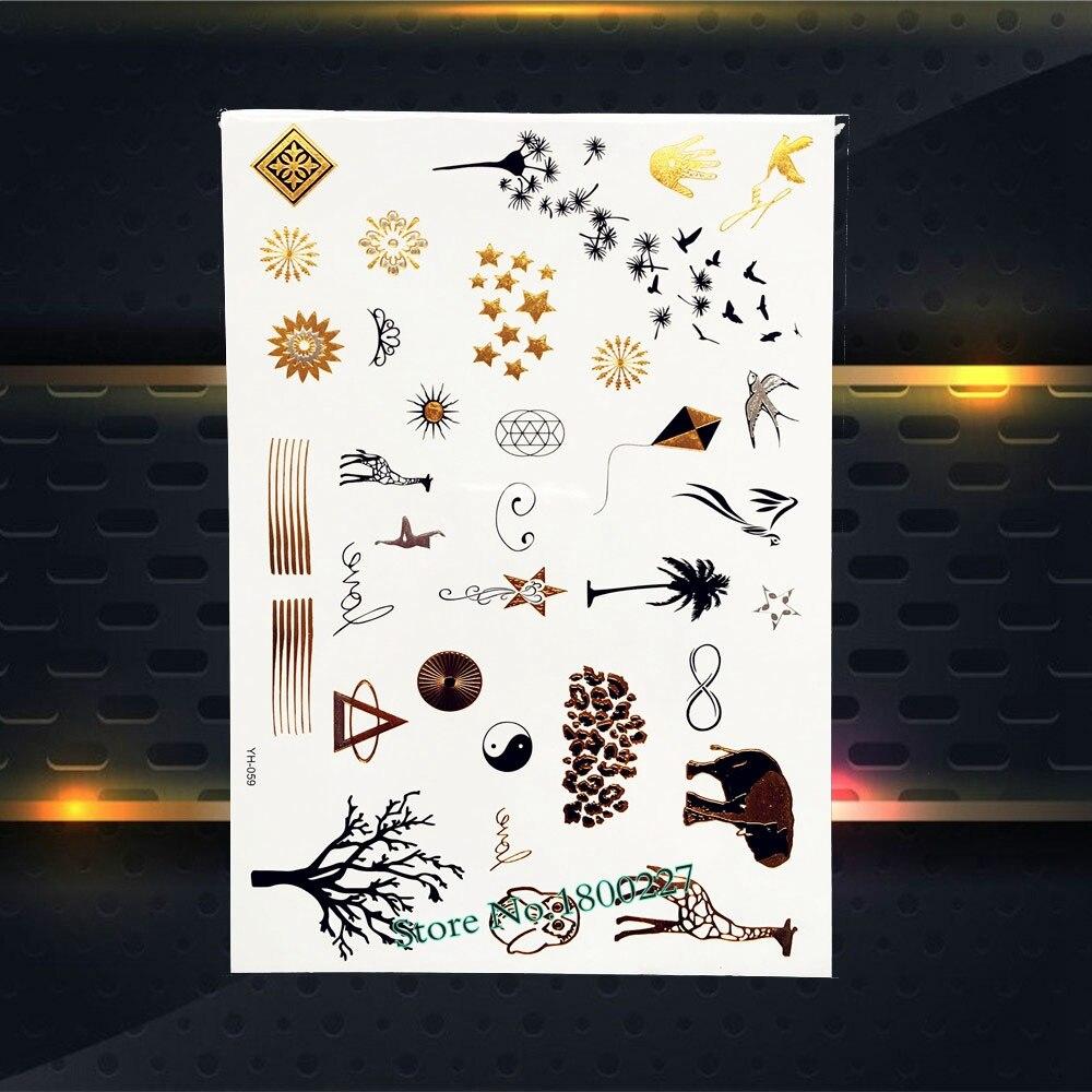 R338 10 De Descontocute Adorável Mão Tatuagem Dedo Ouro Coruja Girafa Aves Pipa Dandelion Projeto Ombro Pescoço Decalques Etiqueta Do Tatuagem
