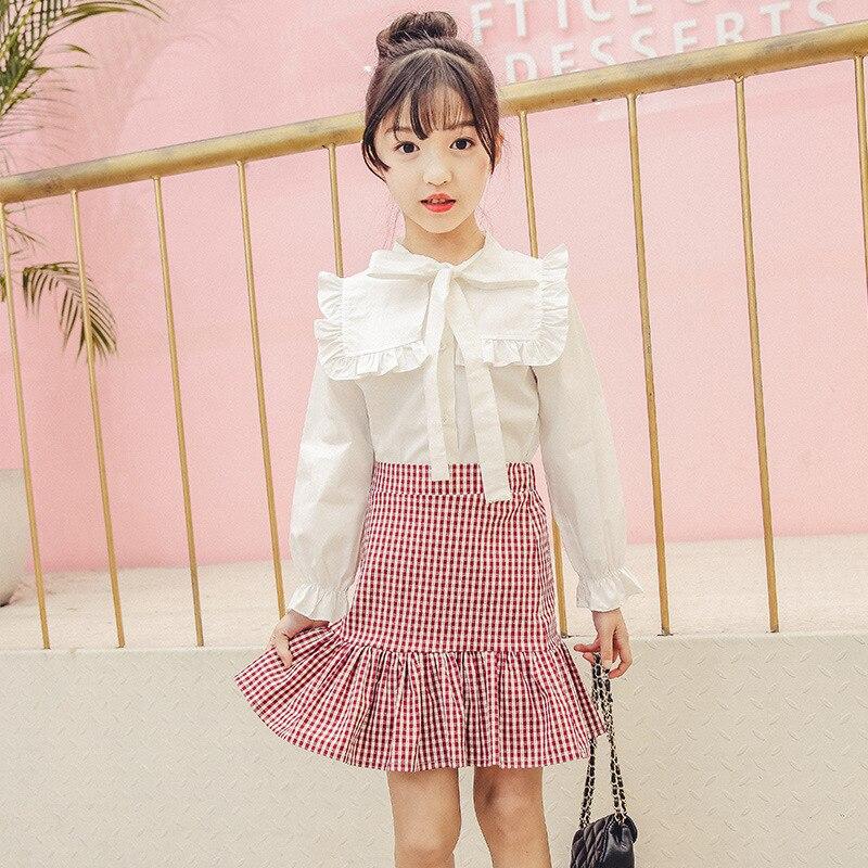 Girl's Half-skirt and Blouses Princess Suit Kids Long sleeve  Shirt Top + Pink Plaid Skirt 2 PCS Lovely Children Clothes Set
