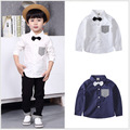 Spring New Kids Boys Color Fashion Shirt Clothing White Dark Blue Cotton Perfect Match Bow