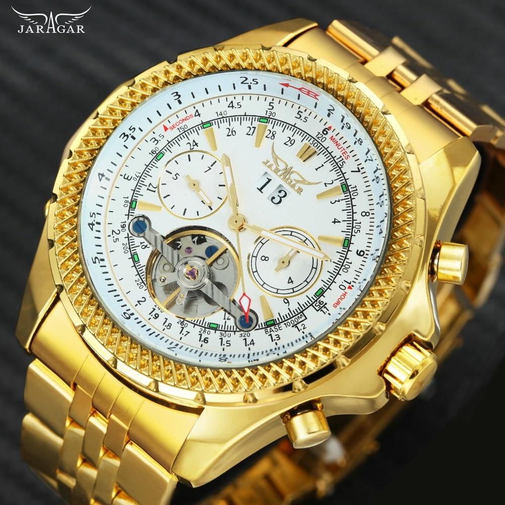 все цены на JARAGAR Top Brand Luxury Auto Men Watches Tourbillon 2 Small Working Sub-dials Full Steel 2018 New Golden Mechanical Wristwatch онлайн