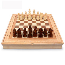 Antique Chess Set of Wooden Coffee Table Miniature Board Pieces Move Box Retro Style Lifelike