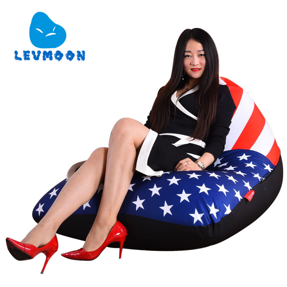 LEVMOON Beanbag Sofa Chair USA Flag Seat Zac Bean Bag Bed Cover Without Filling Indoor Beanbags usa flag print crop tee