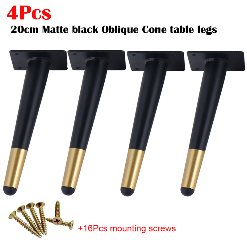 4Pcs Furniture Table Legs Black Gold Metal Tapered Sofa Cupboard Cabinet Leg Feet 200MM With Mounting Screws