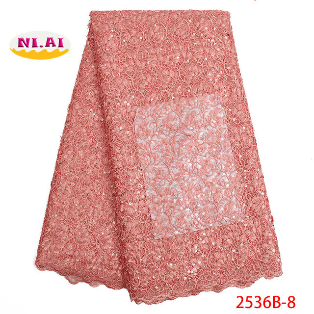 Wholesale factory price  Nigerian lace fabrics sequins for wedding dress 2019 African high quality net lace fabric NA2536B-2