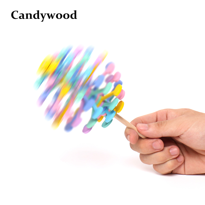 Hot Sale Wooden Rotating Lollipop Magic Wand Stress Relief Toy Fidget Spinner Creative Art Decoration Hand Spinner Toys Boy Girl