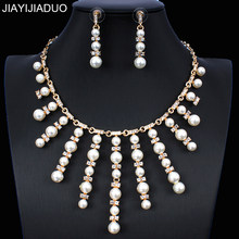 jiayijiaduo Imitation pearl jewelry set necklace long earrings set for glamour women dress accessories gold color(China)