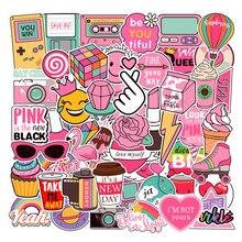 51PCS Pink girl heart cute wind graffiti sticker trolley case car waterproof stickers for children birthday gifts kids