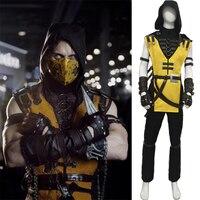 Mortal Kombat Scorpion Hanzo Hasashi Cosplay Costume outfit Game Adult Costume