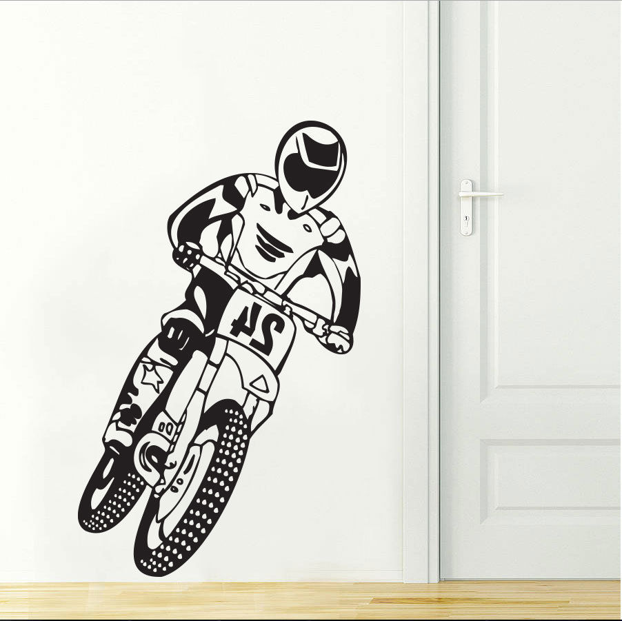 Removable quality vinyl motocross motorcycle dirt bike for Dirt bike wall mural