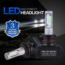 2 x LED Car Headlight Bulbs Hi/Low Beam H1 H3 H4 H7 H8 H13 9004 9005 9006 9007 9012 Motorcycle H9 LED Lamps 6000K 4000LM(China)