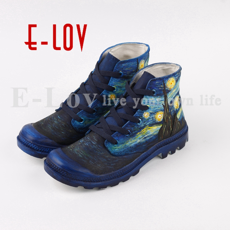 E-LOV Hand Painted Abstract Artwork Starry Night Canvas Shoes Custom High Top Men Casual Walking Shoes Plus Size Chaussures men women converse puerto rico flag hand painted artwork high top canvas shoes unique sneakers